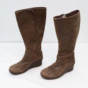 Keen Akita Tall Nubuck Wedge Boots Womens 8 Zip